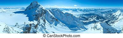 Winter Dachstein mountain massif panorama
