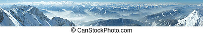 Winter Dachstein mountain massif panorama. - Winter hazy...