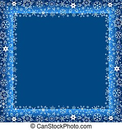 Winter dark blue frame with white snowflakes