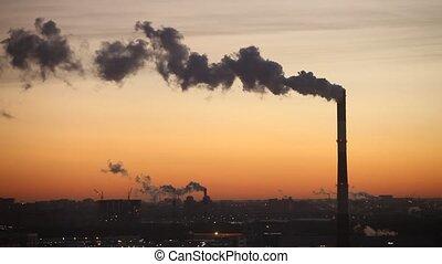 Winter dawn in industrial city