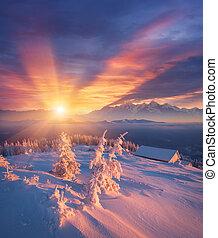 Winter dawn in the mountain village