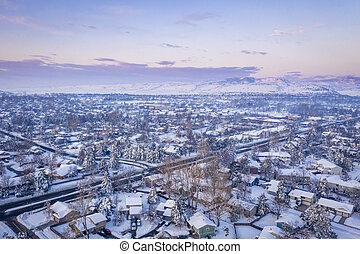 winter dawn over city of Fort Collins in northern Colorado