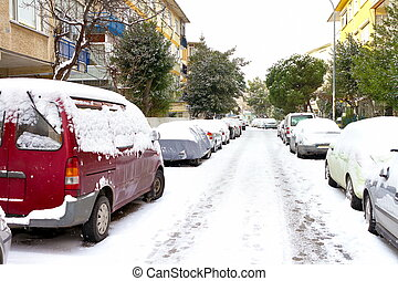 Winter day with parked cars
