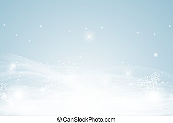 Winter decorative background template with snow, snowflakes and wind. Vector Illustration
