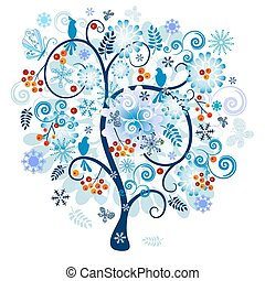 Winter decorative tree - Winter tree with berries, birds and...