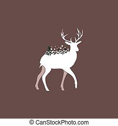 Winter Deer Vector Silhouette