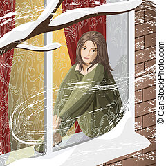 The sad young woman sitting on the windowsill looking at the snow-covered street
