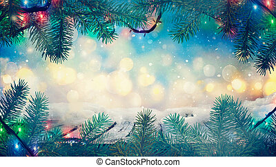 Winter design. Christmas background with Frozen table. Blurred