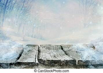 Winter design . Frozen wooden table with landscape