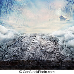 winter, design, -, gefrorenes, holztisch, mit, landschaftsbild