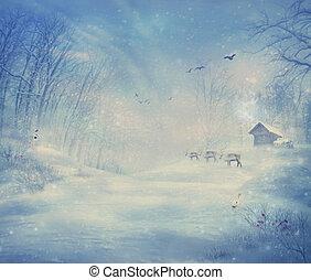 winter, design, -, rentier, wald