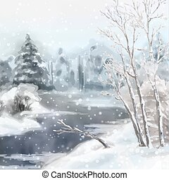 Winter Digital Watercolor Landscape - Digital vector...