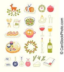 Winter dinner party vector illustrations