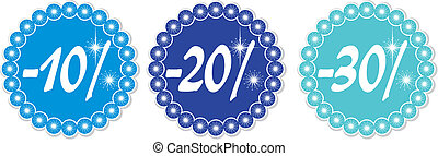 Winter discount 10-30% - 10-30% price tags of snowflakes,...