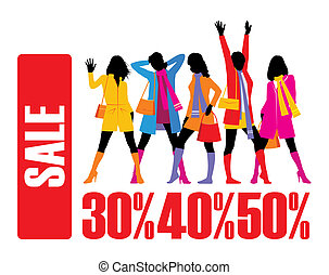 Winter discounts 2 - Composition with five female figures....