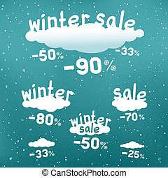 winter discounts falls from clouds