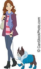 winter, dog, kleren