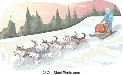 Winter Dog Sled Snowy Mountain - Animal Illustration...