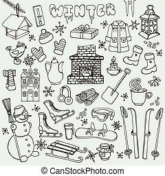 Winter doodle icons, elements
