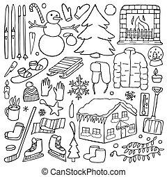 Winter doodle set