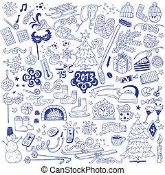 winter - doodles set