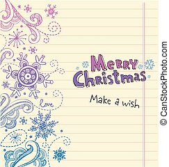 Winter Doodles with snowflakes, Christmas card