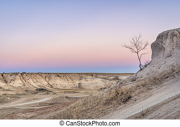 Winter dusk over badlands