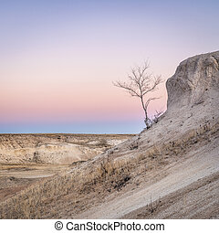 Winter dusk over praIrie and badlands