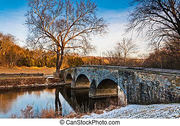 Winter evening at Burnside Bridge, in Antietam National...