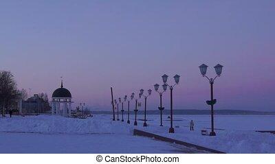 Winter evening on city lakeside - Winter evening on...