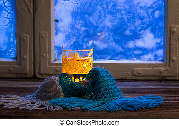 Winter evening with warming tea