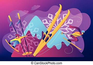 Winter extreme sports concept vector illustration.