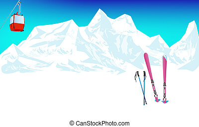 Winter extreme sports skiing rest in Alpine resorts