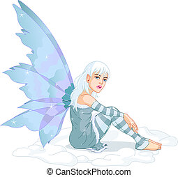 Winter Fairy - Beautiful winter fairy sitting in the snow