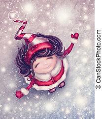 Winter fairy girl - Illustration with little winter fairy...