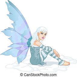 Winter Fairy - Beautiful winter fairy sitting in the snow