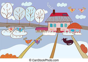 Winter fairytale landscape with birds cartoon