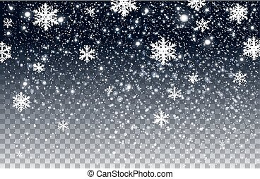Winter falling snow Isolated on transparent background