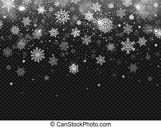Winter falling snow. Snowflakes fall, christmas decorations snowflake and snowed snowstorm isolated vector background