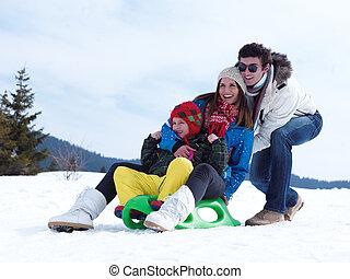winter, familie