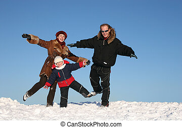winter family on one leg