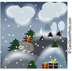 winter fantasy landscape with hedgehog and gifts
