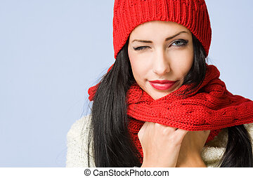 Winter fashion cutie. - Portrait of a gorgeous happy young ...