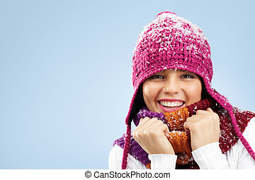 Winter fashion - Photo of pretty woman in knitted winter cap...