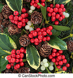 Winter Fauna - Winter fauna with variegated holly, ivy,...
