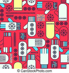 winter, fausthandschuhe, schneeflocke, seamless, muster