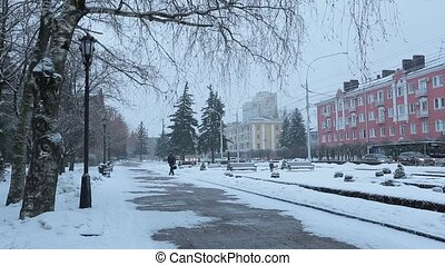 winter., februar, stavropol, zentral, 2018:, straßen, -, stavropol, russland