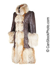 Winter female coat with the fox fur