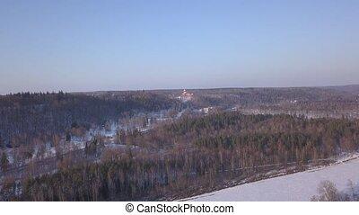 Winter field Sigulda Latvia aerial drone top view 4K UHD...