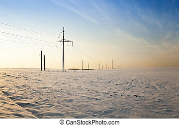 winter field , sunset - electric poles, standing in a field ...